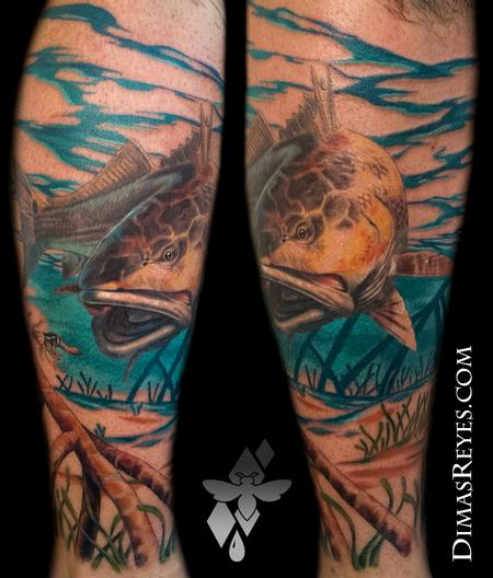 Dimas Reyes - Realistic Color Redfish Tattoo
