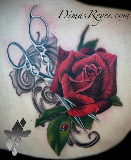 Tattoos - Realistic Color Rose Shears and Ladybug with Filligree - 133813