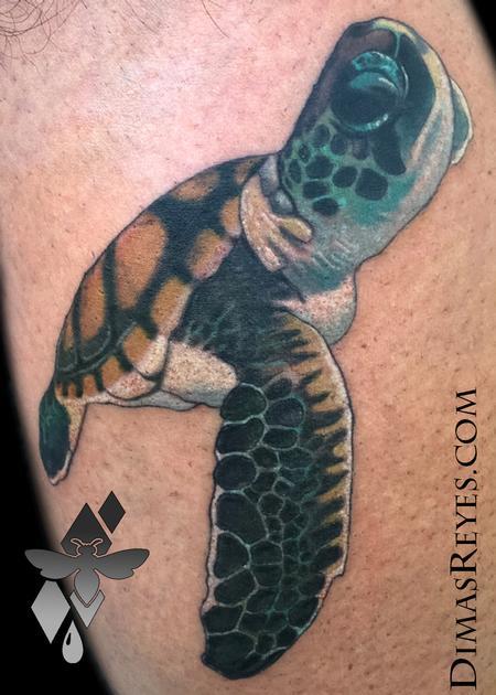 Tattoos - Realistic Color Sea Turtle Tattoo - 119319