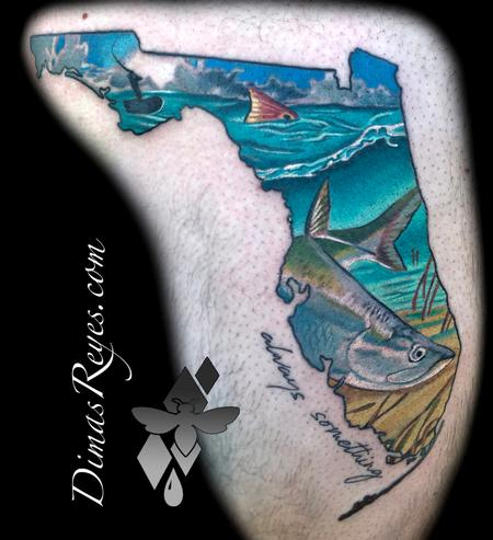 Tattoos - Realistic Color Snook Redfish Florida Fishing - 133812