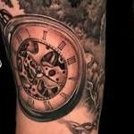 Tattoos - Black and Grey Realistic Mountain Landscape & Pocketwatch Tattoo - 142140