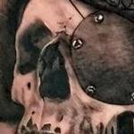 Tattoos - Black and Grey Realistic Pirate Skull Tattoo - 142139