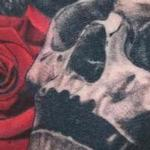 Tattoos - Black and grey skull with rose tattoo - 138864