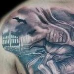 Tattoos - Black and Grey Heaven and Hell tattoo - 138946