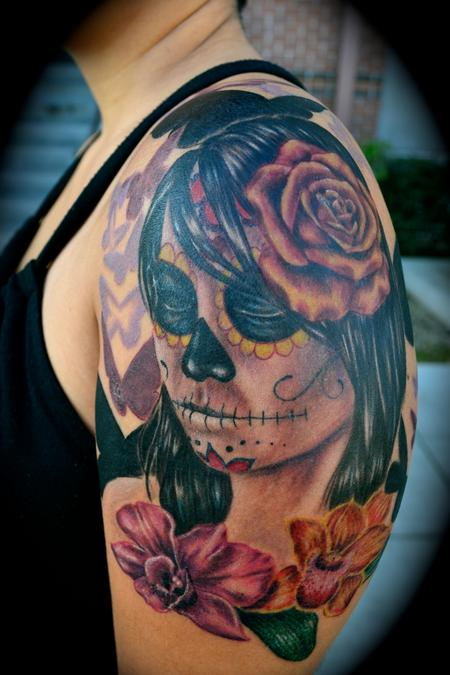 Tattoos - Day of the Dead Woman Portrait with Orchids - 62261