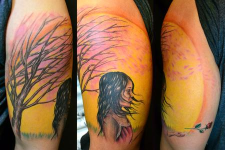 Tattoos - Asian Girl in the Wind with Cherry Blossom Tree and Sun letting go of rose - 60892