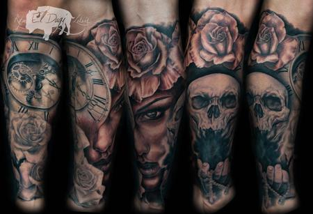 Tattoos - Clock Skull Rose Girl Leg Sleeve - 100461