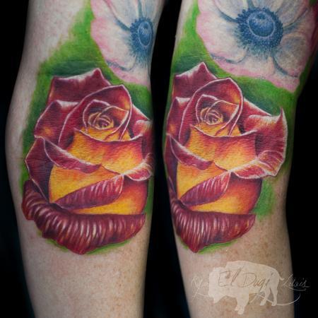 Tattoos - Red & Yellow Rose  - 111429