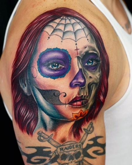 Tattoos - Day of the Dead Skull Girl  - 77297