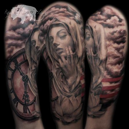 Tattoos - Virgin Mary touching Face and clock - 116707