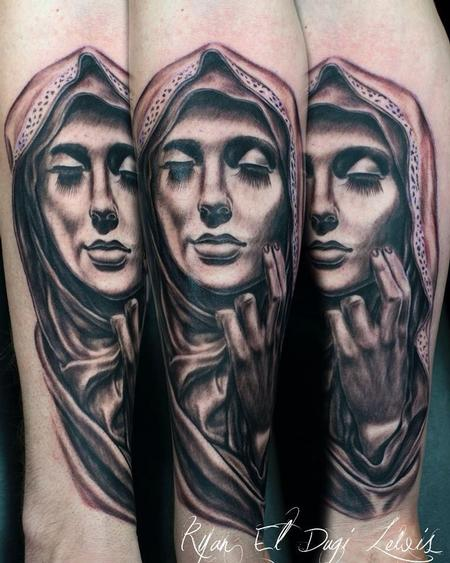 Tattoos - Virgin Mary Eyes Closed - 87521