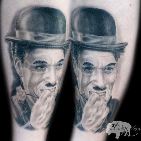 Tattoos - Charlie Chaplin portrait healed - 108272
