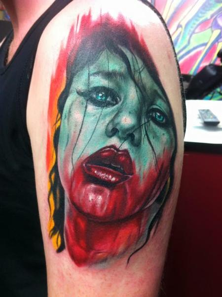Tattoos - Color Zombie Girl Tattoo - 117084