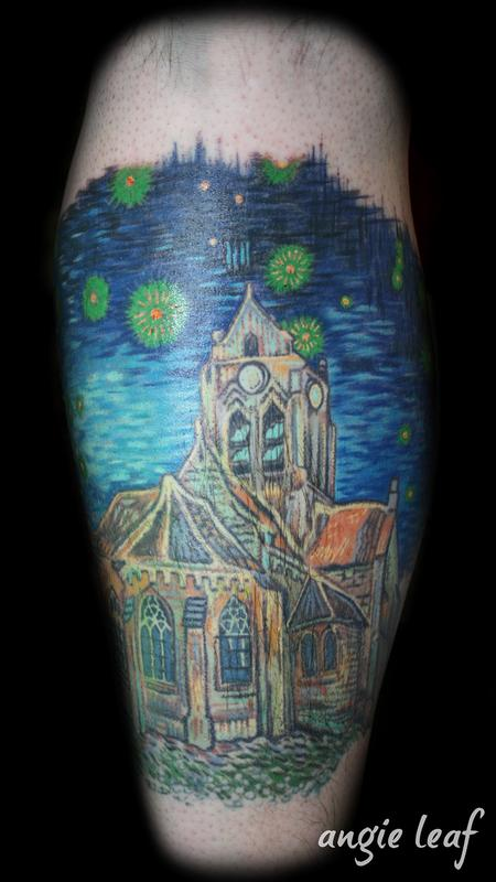 Tattoos - Van Gogh  Cathedral Color Tattoo - 125348