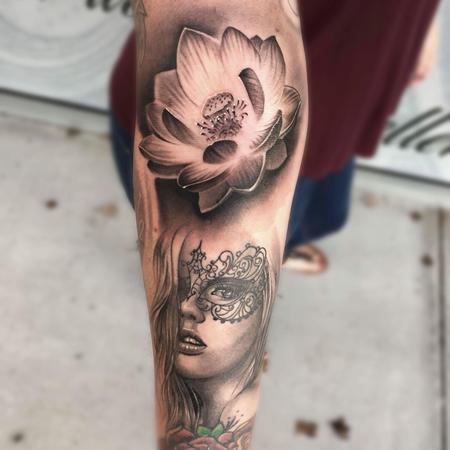 Miguel Angel Romo - Lotus and Portrait tattoo