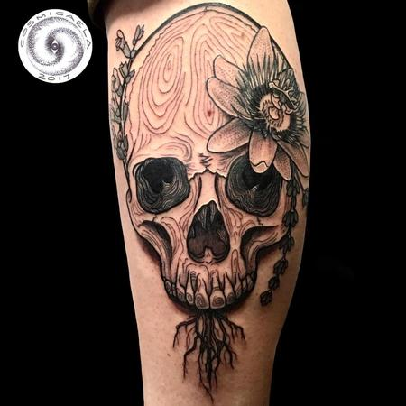 Tattoos - Botanical Skull - 133398