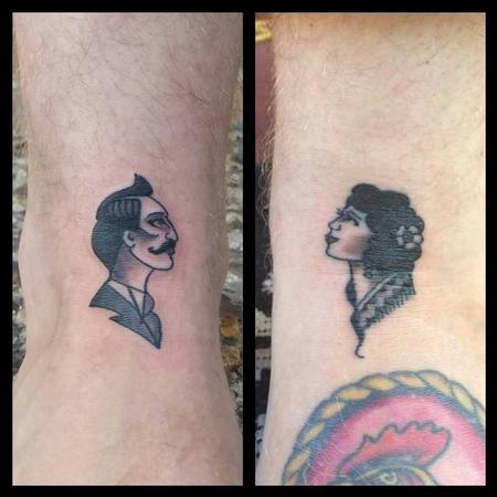 Tattoos - Man/Woman Head - American Traditional - 127013