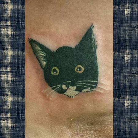 Tattoos - Black Kitty Head - Simple Tattoo Style - 127018