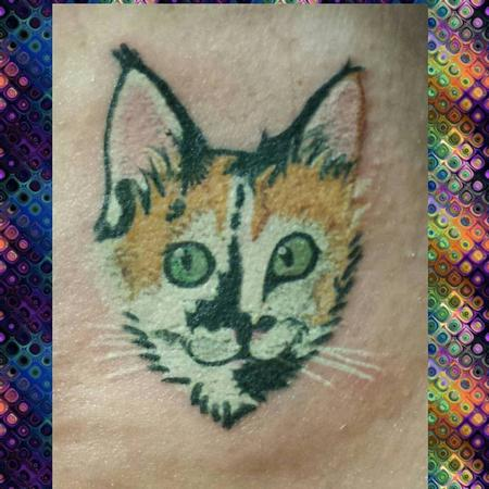Tattoos - Calico Cat Head Tattoo - 127020