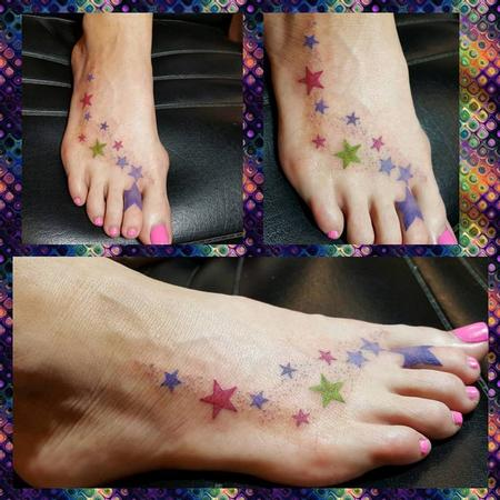 Tattoos - Colorful Stars Tattoo up the Foot - 127032