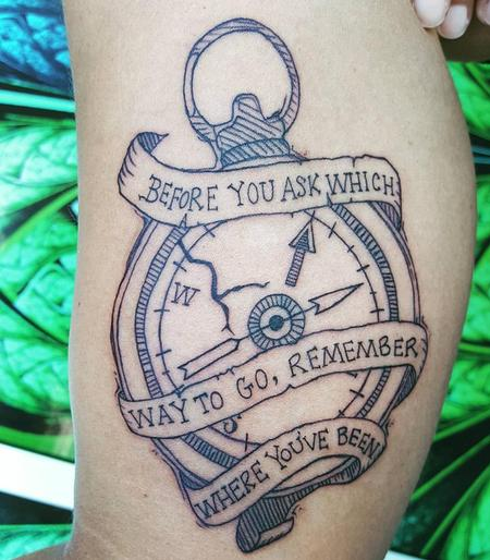 Stefanee Schofield - Compass & Banner Tattoo on inner-upper Arm