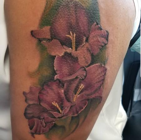 Tattoos - purple lilies - 140009