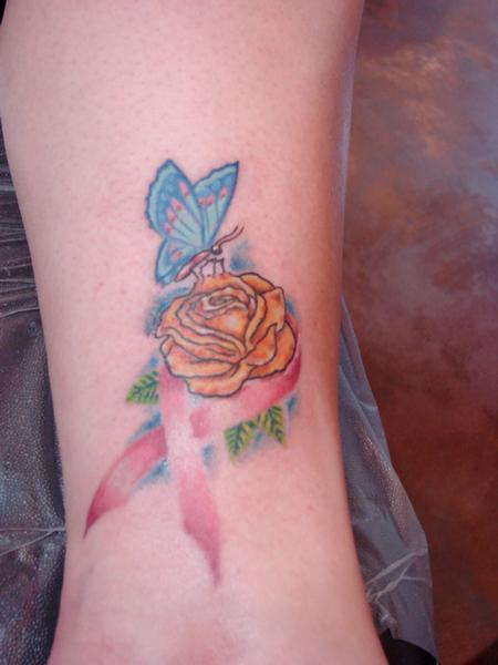 Tattoos - Breast cancer ribbon. - 65008