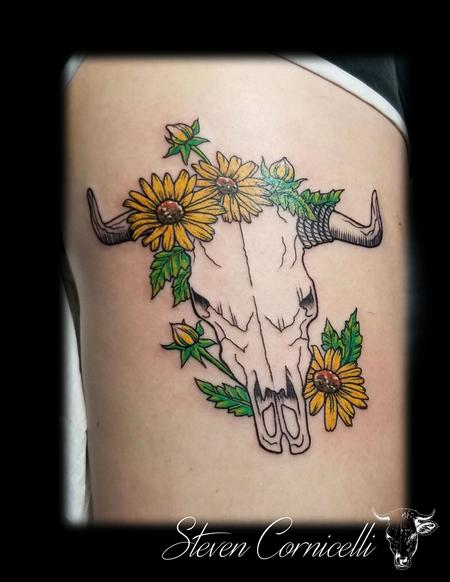 Tattoos - skulls and flowers - 138343