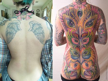 Tattoos - Morgan, before and then after two passes - 71518