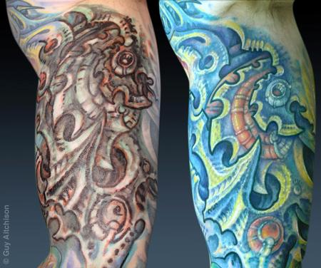 Tattoos - Don, with marker drawing and then after two tattoo sessions - 71528