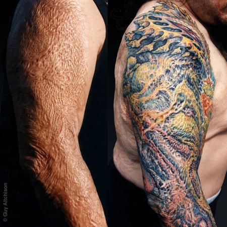 Tattoos - Anthony, third degree burn scar coverup  - 71531