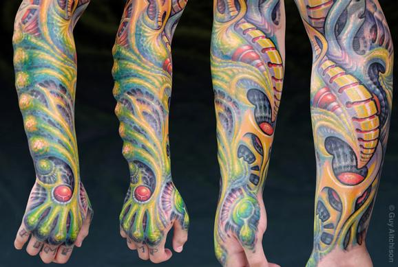 Tattoos - Miguel, forearm sleeve with silicone implants - 72610