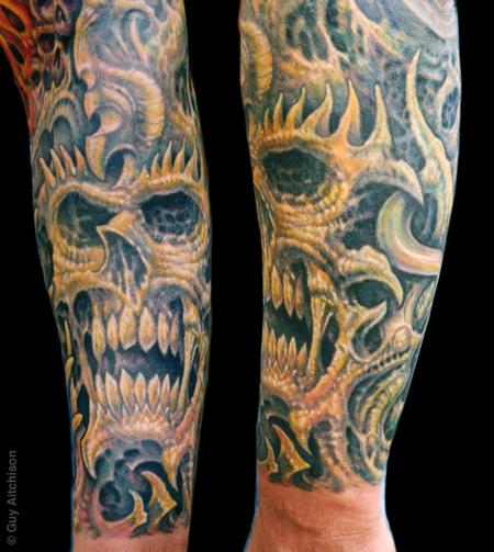 Tattoos - Robert, three passes of tattooing over old coverup - 71549