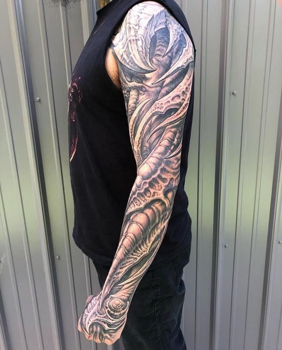 Full Bio Sleeve Tattoo Design Thumbnail