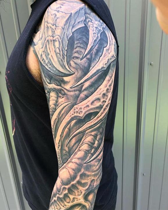 Guy Aitchison - Bio Upper Sleeve Tattoo