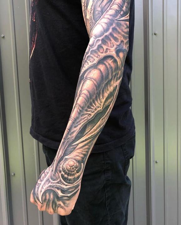 Forearm Bio Sleeve Tattoo Design Thumbnail