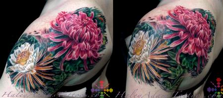 Tattoos - flowers on shoulder and upper arm - 117101