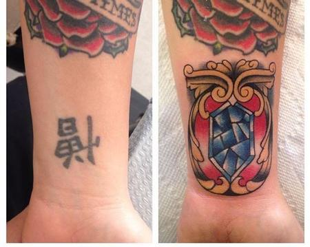 Tattoos - Kanji Coverup with Traditional Gem - 109293