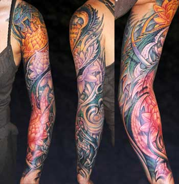 Tattoos - Lotus Flowers Arm_Sleeve - 28326