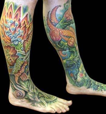 Tattoos - Flower Leg to Foot Sleeves - 13909