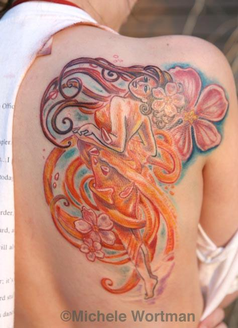Michele Wortman - Mucha inspired back shoulder