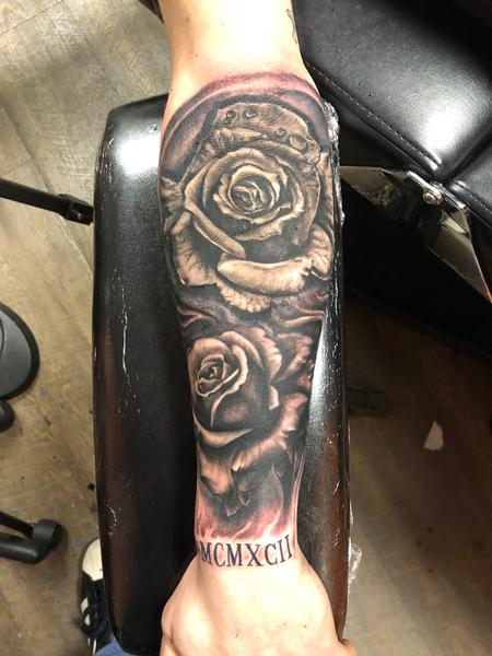 Tattoos - Black and Grey Rose - 132958