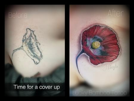 Tattoos - Photo realistic full color Poppy floral cover up  - 140832