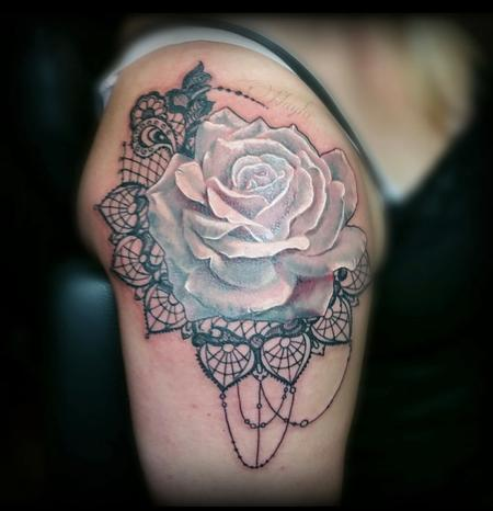 Haylo - Rose & Lace tattoo by Haylo