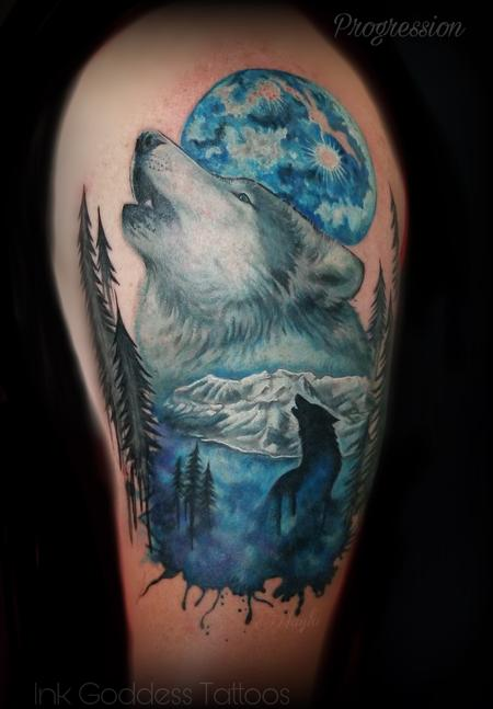 Tattoos - Progression of Realistic Wolf and watercolor integration by Haylo - 141590