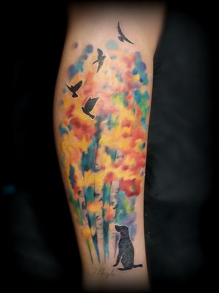 Haylo - Watercolor Trees with Dog & Birds silhouettes tattoo by Haylo