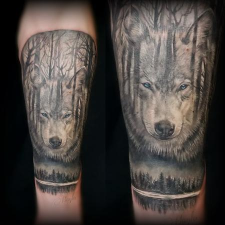 Tattoos - Wolf and Forest integration tattoo by Haylo  - 141187