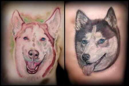 Tattoos - Husky Dog Portrait Tattoos by Haylo - 141172