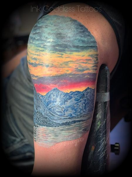 Tattoos - Mountain and Lake scene tattoo by Haylo - 141183
