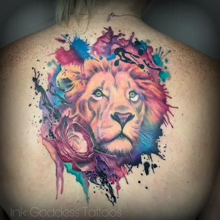 Watercolor and Realism integrated Lion and Rose back piece Design Thumbnail